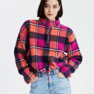 American Eagle Sherpa Plaid Cropped Zip Pullover